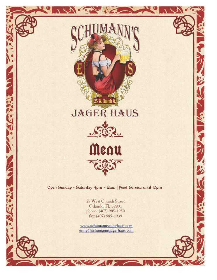 Schumann's Jäger Haus Menu 1
