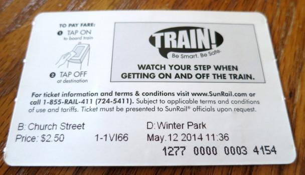 SunRail Ticket Back