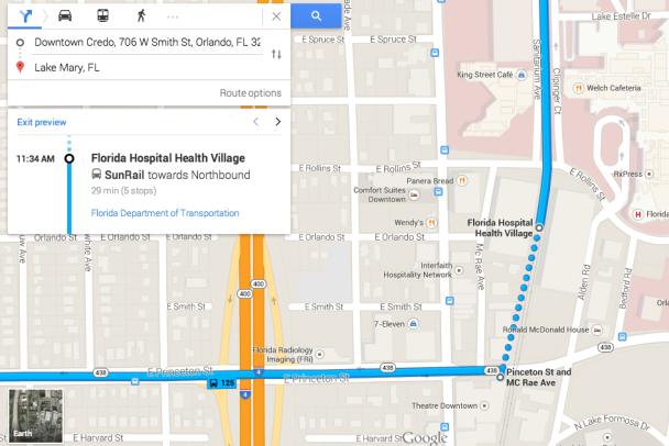 SunRail Google Maps