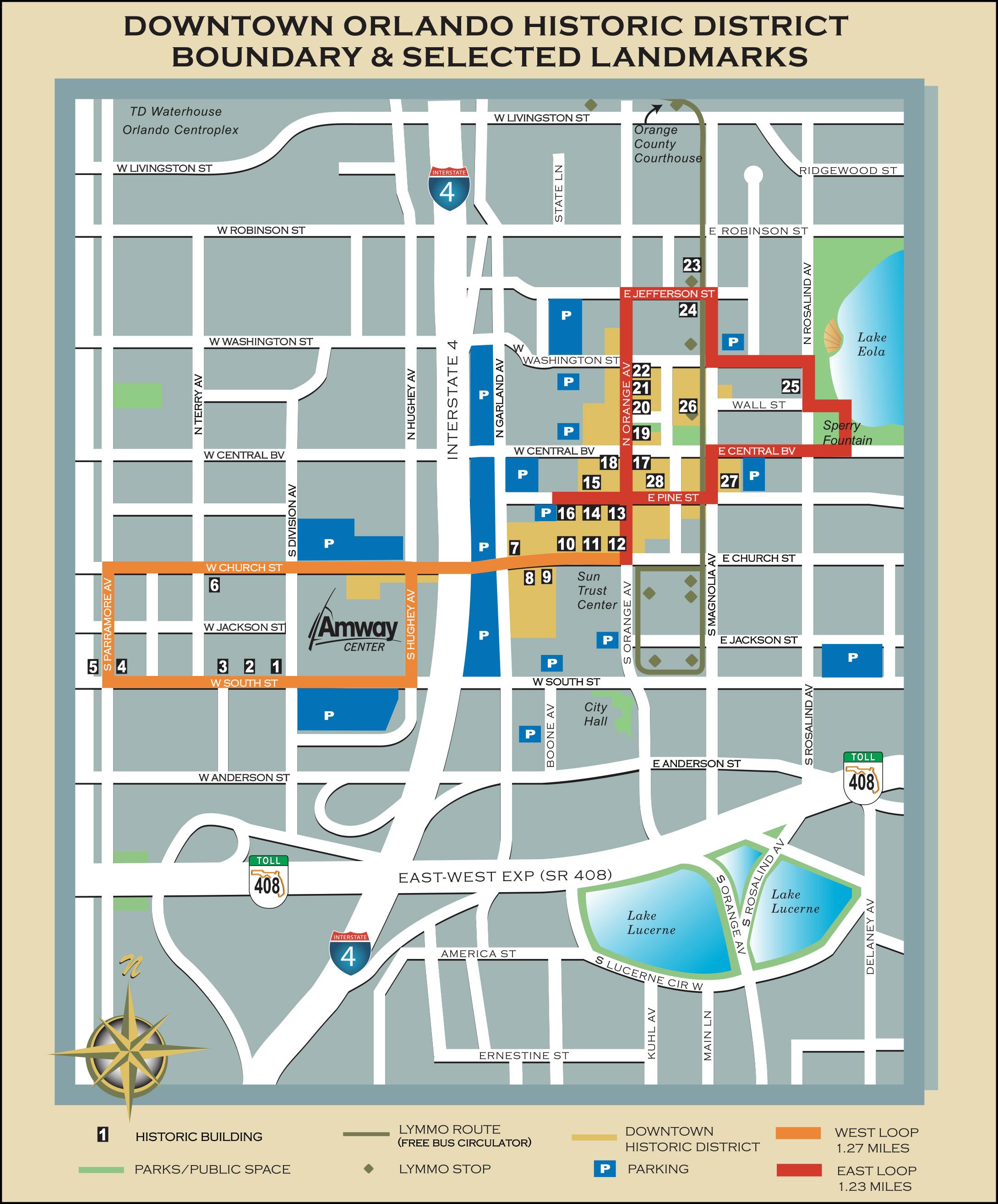 Downtown Orlando Map Retro Orlando: Downtown Historic District walking tour   bungalower