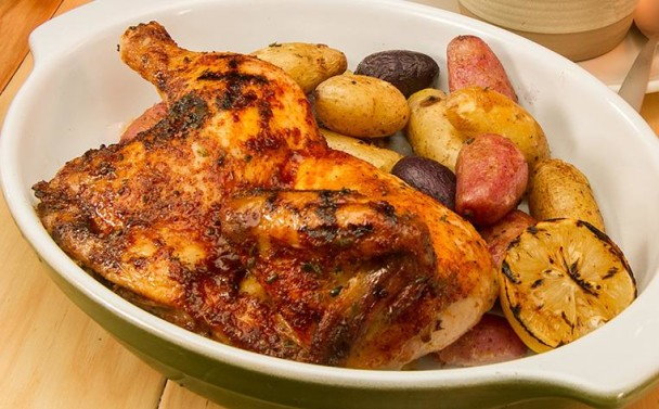 1/2 Oven Roasted Chicken with Fingerling Potatoes photo via TR Grill Facebook page.
